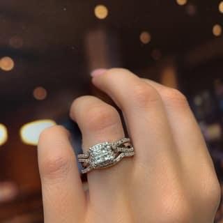 Miadora Sterling Silver 1/2ct TDW Princess-cut Quad White Diamond Interlaced Halo 3-piece Bridal Ring Set