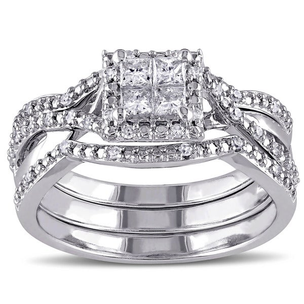 Miadora Sterling Silver 1/2ct TDW Princess-cut Quad White Diamond Interlaced Halo 3-piece Bridal Ring Set