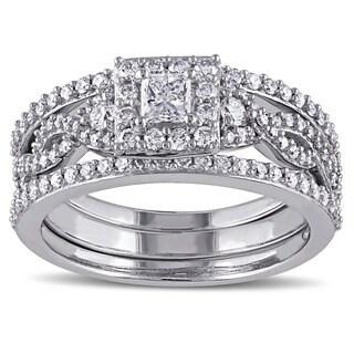 Miadora Signature Collection 10k White Gold 1ct TDW Princess Diamond Bridal Ring Set
