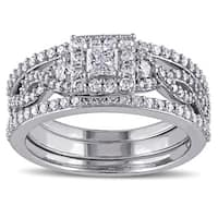 Miadora Signature Collection 10k White Gold 1ct TDW Princess Diamond Bridal Ring Set