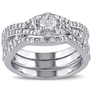 Miadora Sterling Silver 1/2ct TDW Diamond Bridal Ring Set (G-H, I1-I2)