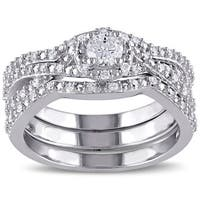 Miadora Sterling Silver 1/2ct TDW Diamond Bridal Ring Set (G-H, I1-I2)