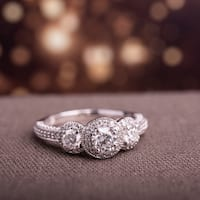 Miadora Signature Collection 10k White Gold 1ct TDW Diamond Three Stone Ring