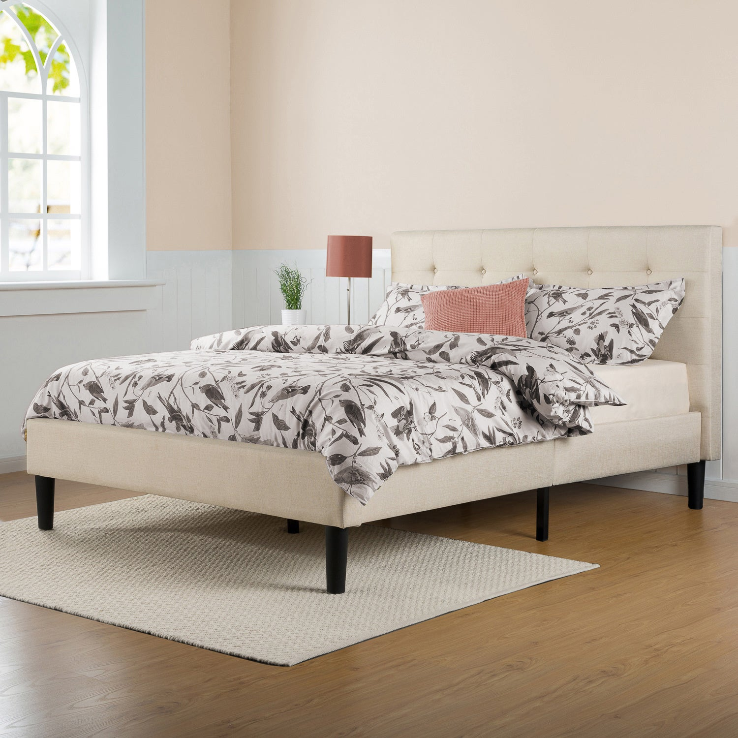 Priage Upholstered Button Tufted Platform Bed with Wooden...