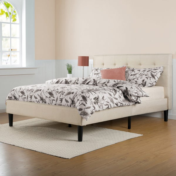 Priage Upholstered On Tufted Platform Bed With Wooden Slats King
