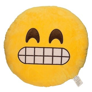 Emoji Say Cheese Yellow Round Plush Pillow