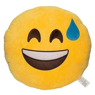 Emoticon Sweating Yellow Round Plush Pillow