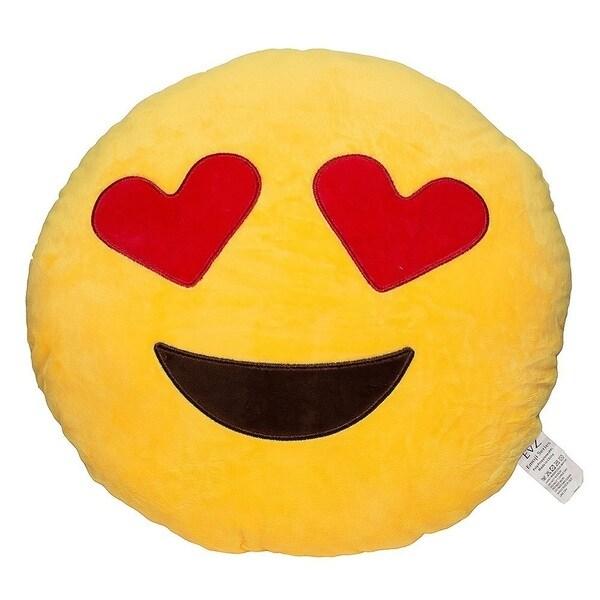 Emoji Heart Eyes Yellow Round Plush Pillow
