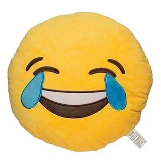 Emoji Tears of Joy Yellow Round Plush Pillow