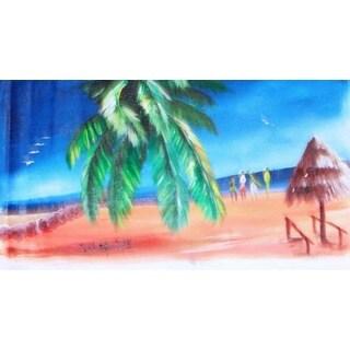 Handmade 'Beach View' Canvas Art (Ghana)