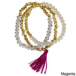 Handmade Saachi Set of 3 Stackable Beaded Stretch Bracelets with Tassel (China)