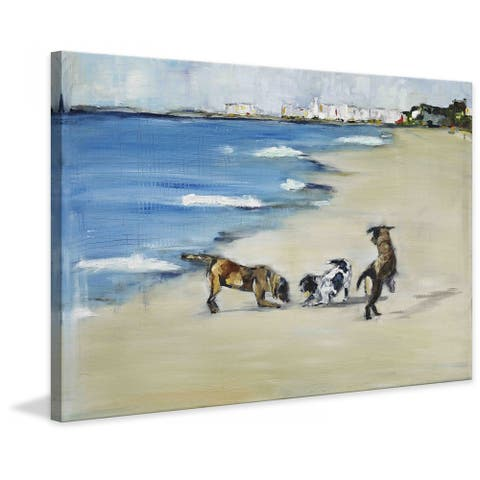 Marmont Hill - Handmade Dogs Play Painting Print on Canvas