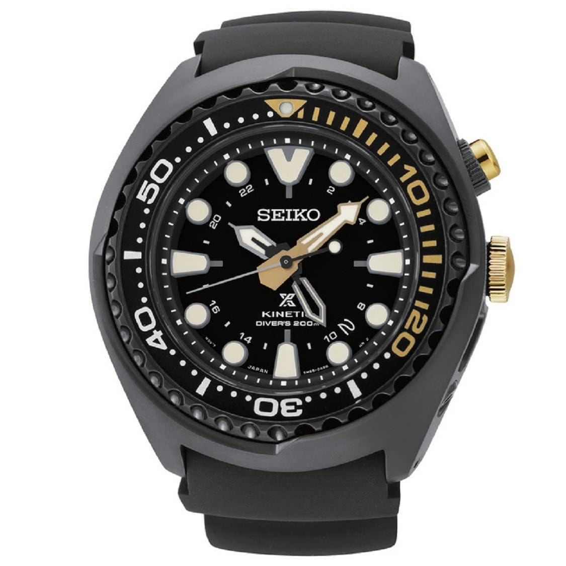 Seiko Men's SUN045 Stainless Steel Kinetic Diver GMT 50th...