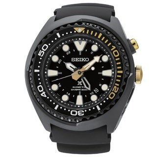 Seiko Men's SUN045 Stainless Steel Kinetic Diver GMT 50th Anneversary Watch