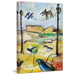 """Marmont Hill - """"Dog on Wire"""" by Tori Campisi Painting Print on Canvas"""