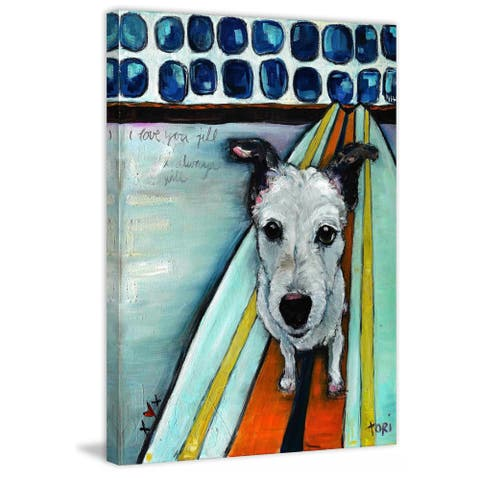 Marmont Hill - Handmade Dog on Surfboard Painting Print on Canvas