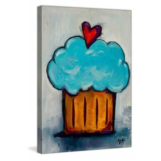"Marmont Hill - ""Blue Cupcake"" by Tori Campisi Painting Print on Canvas - Multi-color (5 options available)"