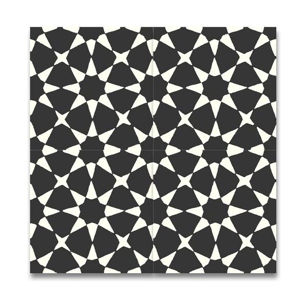 Medina black and white handmade cement and granite for Handmade cement tiles