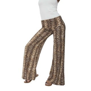 White Mark Women's Sneak Palazzo Pants Grey/ Brown