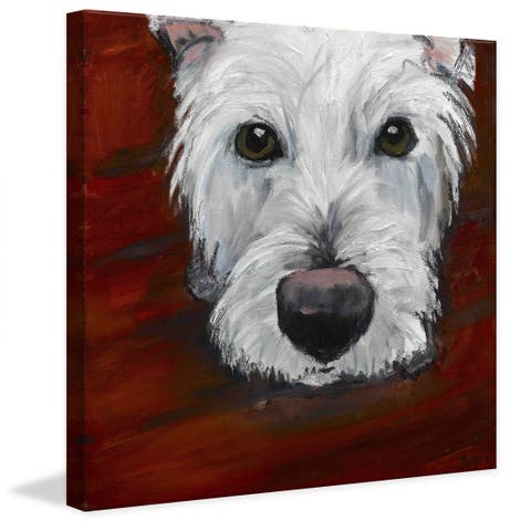 Marmont Hill - Handmade Red Dash Painting Print on Canvas