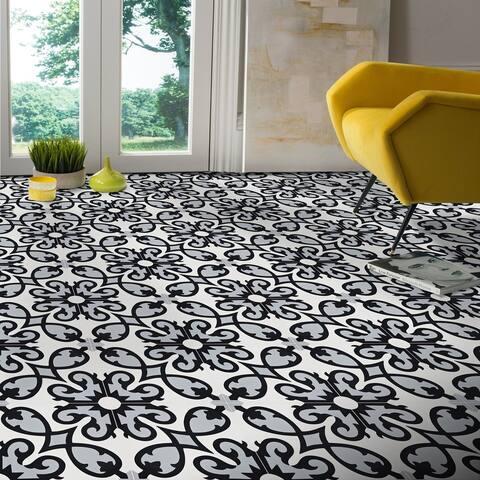 Handmade Agadir in Grey, Black, White Tile, Pack of 12 (Morocco)
