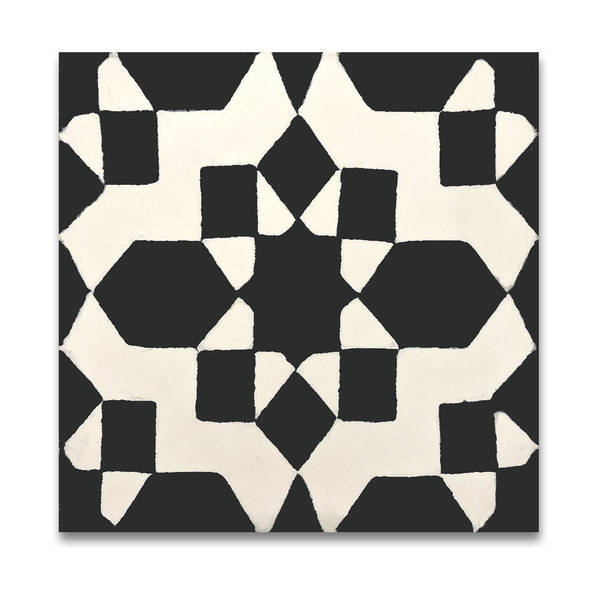 Affos in Black and White Handmade 8x8-inch Moroccan Tile (Pack of 12)