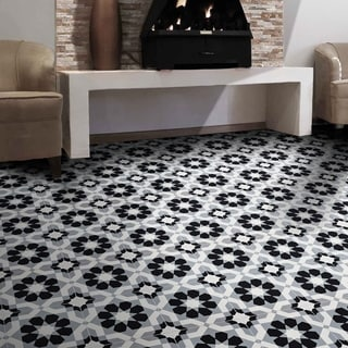 Baldia Black and Grey Handmade Cement and Granite 8 x 8-inch Floor and Wall Tile (Morocco) (Pack of 12)