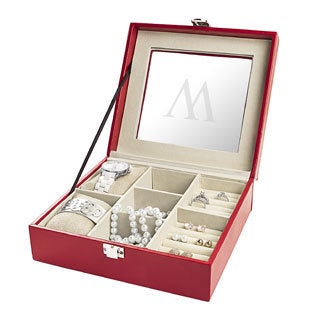 Personalized Red Leatherette Jewelry Box