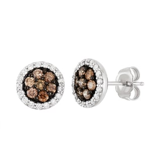 Boston Bay Diamonds 14k White Gold 3/4ct TDW Cognac and White Diamond Halo Circle Earrings (H-I, SI1-SI2)