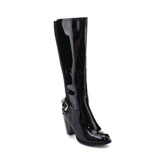 DBDK Cuatro-1 Women's Elastic Side Zipper Buckle Chunky Heel Knee-high Boots