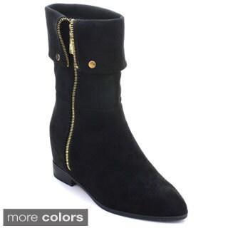 DBDK Estrella-1 Women's Foldable Side Zipper Hidden Wedge Mid Calf Boots
