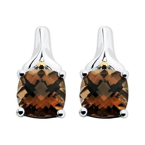 Boston Bay Diamonds 18k Yellow Gold and 925 Sterling Silver 8x8mm Cushion-cut Smoky Quartz Earrings