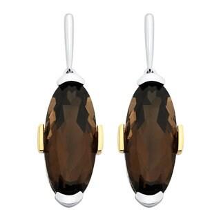 Boston Bay Diamonds 18k Yellow Gold and Sterling Silver 2x21mm Oval-cut Smoky Quartz Earrings