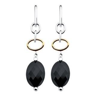 Boston Bay Diamonds 18k Yellow Gold and Sterling Silver 10x14mm Oval-cut Black Onyx Earrings