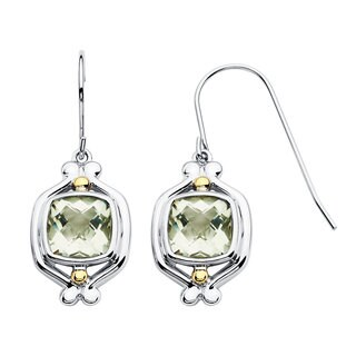 18k Yellow Gold and Sterling Silver 8x8mm Green Cushion-cut Amethyst Earrings