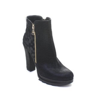 DBDK Omaha-1 Women's Strappy Buckle Almond Toe Lug Sole Chunky Ankle Booties