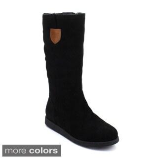 DBDK PORIAA-2 Women's Elastic Side Zipper Almond Toe Flat Heel Mid-calf Boots