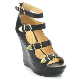 Mona Mia Emelian-1 Women's Ankle Strap Bukle Cut Out Back Zipper Platform Wedges