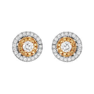 Boston Bay Diamonds 14k Two-tone Gold 1/2ct TDW Yellow Diamond Double Halo Earrings (H-I, SI1-SI2)