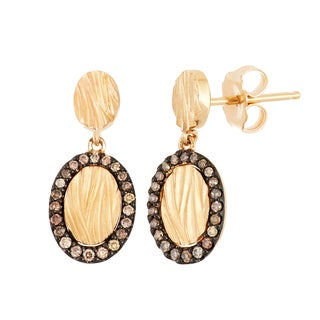 Boston Bay Diamonds 14k Yellow Gold 1/5ct TDW Cognac Diamond Framed Textured Circle Earrings (I, I1) - N/A