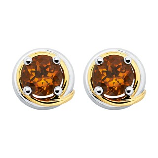 Boston Bay Diamonds 18k Yellow Gold and 925 Sterling Silver 6mm Round-cut Citrine Earrings