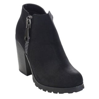 Soda Daily-S Women's High Chunky Heel Bold Zipper Comfort Ankle Booties