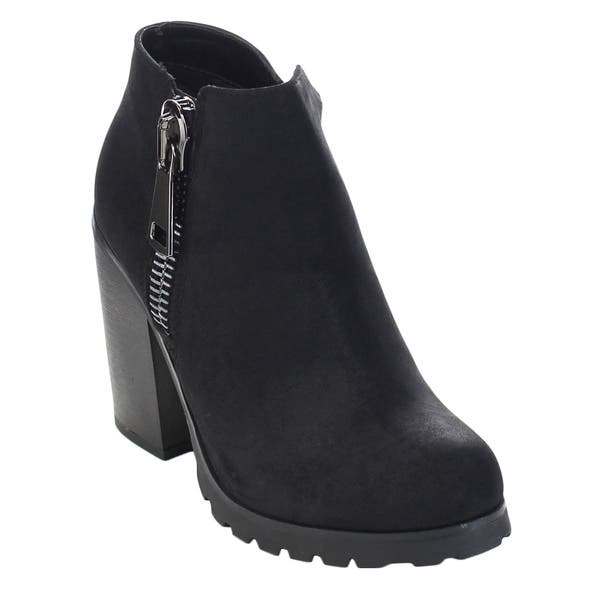 347f8db225d07 Shop Soda Daily-S Women's High Chunky Heel Bold Zipper Comfort Ankle ...