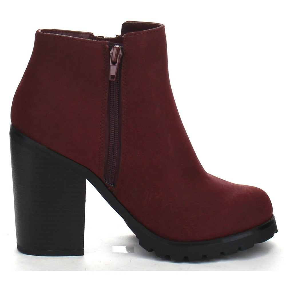 58cc60f63247a Soda Daily-S Women's High Chunky Heel Bold Zipper Comfort Ankle Booties