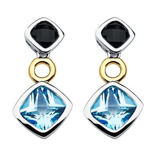 Boston Bay Diamonds 18k Yellow Gold and Sterling Silver Cushion-cut 4mm Onyx and 6mm Topaz Earrings