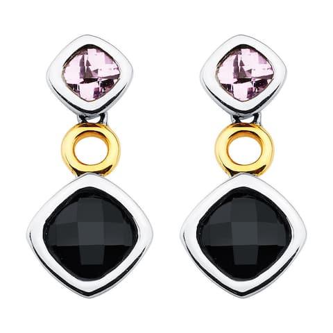 Boston Bay Diamonds 18k Yellow Gold and 925 Sterling Silver 6x6mm Smoky Quartz Cushion-cut Pink Sapphire Earrings