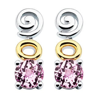 Boston Bay Diamonds 18k Yellow Gold and Sterling Silver 6x6mm Round-cut Pink Sapphire Earrings