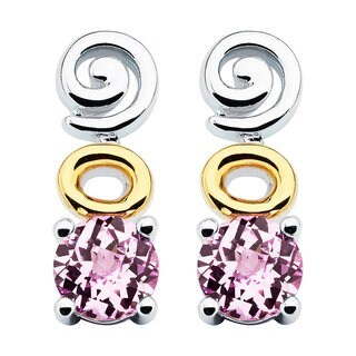 Boston Bay Diamonds 18k Yellow Gold & 925 Sterling Silver 6x6mm Created Pink Sapphire Earrings