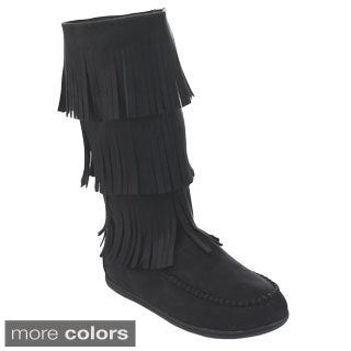 Soda Import Women's Boho Three-layer Fringe Moccasin Slip On Flat Mid Calf Boots