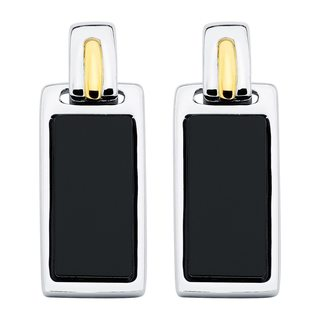 Boston Bay Diamonds 18k Yellow Gold and 925 Sterling Silver 7x15mm Flat Baguette-cut Black Onyx Earrings